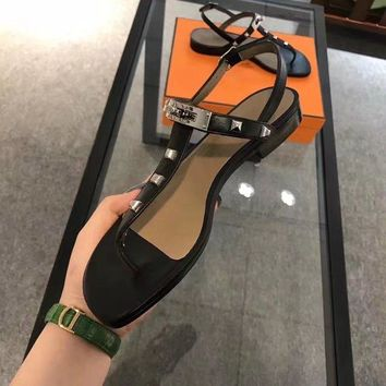 HERMES Women Fashion Casual Heels Shoes Sandals Shoes