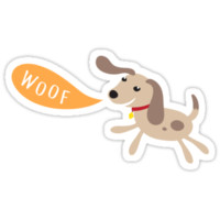 Little brown dog with woof speech bubble