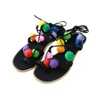 Colorful Pompom Detail Lace-Up Black Sandals