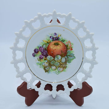 Napco Fruit Plate Fleur De Lis Edge Vintage White Reticulated Rim Plate Apple Grapes Fruit Motif Made in Japan Hand Painted Numbered
