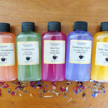 All 5 Mini Classic Book Bubble Bath 2 oz || Wedding Favors, Pride and Prejudice, Jane Eyre, Alice in Wonderland, Frankenstein, Jane Austen