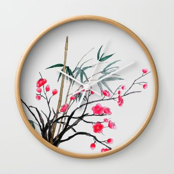 bamboo and red plum flowers  Wall Clock by Colorful Nature