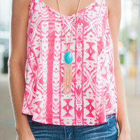 Give It A Whirl Tank, Hot Pink