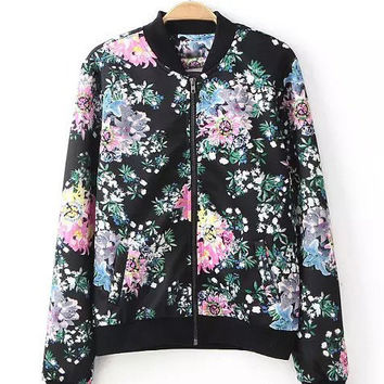 Black Floral Print Zipper Placket Sweater