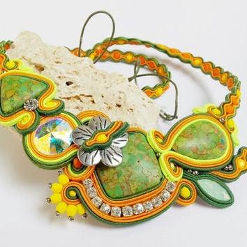 Soutache jewelry.Soutache necklace.OOAK.Handmade Jewelry. Colorful soutache necklace, beaded jewelry, handmade, summer fashion, unique gift