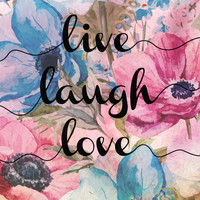 Live Laugh Love - Watercolor Flowers Canvas Print by Kris James
