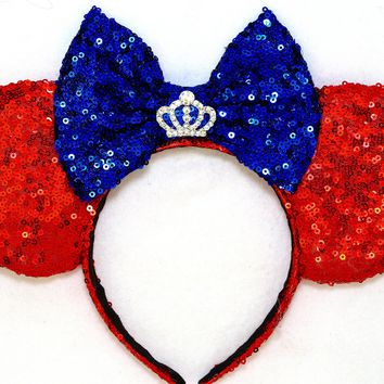 Snow White Princess Rhinestone Crown - Red Sequin Ears and Royal Blue Bow