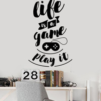 Vinyl Wall Decal Gaming Quote Teen Room Video Game Stickers Mural Unique Gift (ig4704)