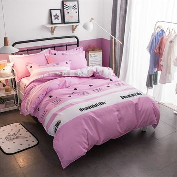 Nordic Style Pink Kids Bedding Set 4pcs With Duvet Cover Bed Sheet Cotton Children Wedding Bed Linen King Queen Full Twin Size
