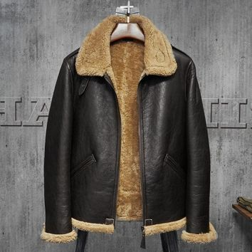 Pilots Coat Men's Shearling Sheepskin Jacket Men's Fur Coat Aviation Leathercraft Flying Jacket