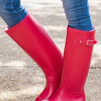 Rain Is A Good Thing Boots, Red