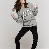 Opening Ceremony Love Me Tender Sweatshirt In Heather Grey | The Dreslyn