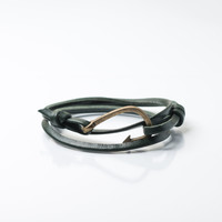 Men's Bronze Hook Leather Bracelet (Dark Green)