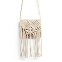 Beige Crochet Knotted Fringed Bag