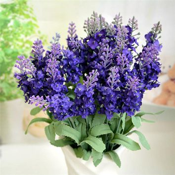 New Purple Provence Lavender flower artificial fake bouquets wedding bridal home table decor posy flower 2016 drop shipping