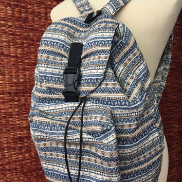 Boho Tribal Backpack Festival Travel bag Woven fabric Ethnic Zen Unique Styles Hipster Native Pattern School Pastel Blue white tone