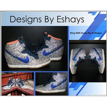 Clear Blue AB Rhinestones Nike Dunk Wedges