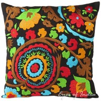"""16"""" Black Suzani Embroidered Pillow Cushion Cover Colorful Decorative Toss Throw"""