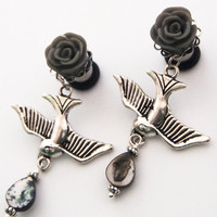 Glamsquared — Silver Swallow Dangle Plugs
