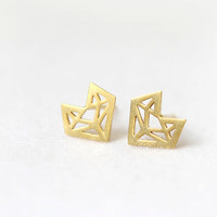 N02 Origami Fox Earrings / choose your color, gold and silver