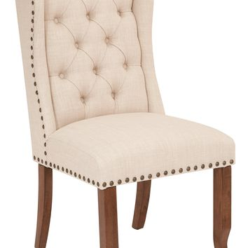 Office Star Linen Jessica Tufted Wing Dining Chair