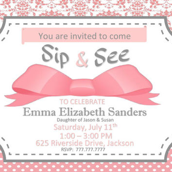 DIY PRINTABLE Sip and See or Shower Invitation for Baby Girl Wording Can Be Changed to Fit