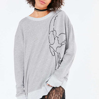 Truly Madly Deeply Embroidered Skull Sweatshirt - Urban Outfitters