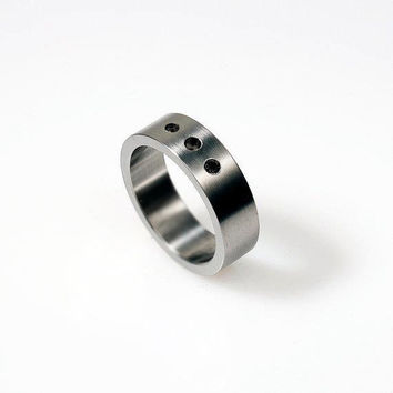 Black Diamond ring, white gold, mens wedding band, men black diamond ring, commitment ring, unique, modern, mens diamond ring