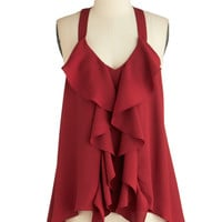 ModCloth Mid-length Halter Merlot and Behold Top