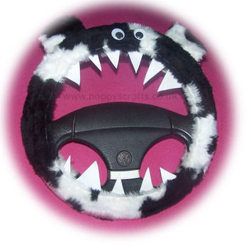 Fuzzy black and white cow print faux fur monster steering wheel cover fluffy furry car fun