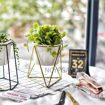 Modern Desktop White Small Ceramic Plant Flower Pot Planter with Geometric Yellow Iron Rack Holder for Succulents Herbs Cactus