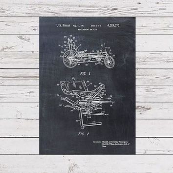 Recumbent Bicycle Patent Print - Patent Art Print - Patent Poster - Bike
