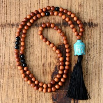 Wood Mala Necklace 8MM Quality Wooden Beads Buddha Tassel Necklace Women Lariat Yoga Meditation Necklace Dropshipping