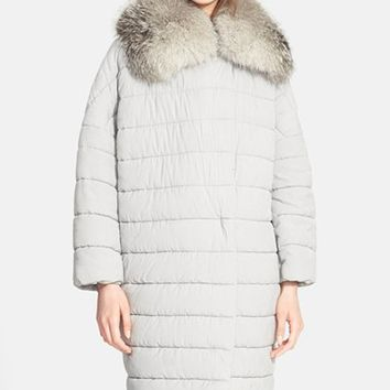 Women's Max Mara Quilted Coat with Genuine Fox Fur Trim,