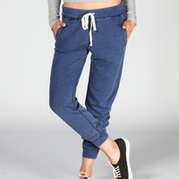 Celebrity Pink Burnout Womens French Terry Sweatpants Heather Navy  In Sizes