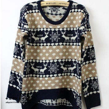 Snowflake cartoon deer loose sweater