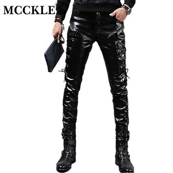 MCCKLE New Winter Mens Skinny Biker Leather Pants Fashion Faux Leather Motorcycle Trousers For Male Stage Club Wear Q2634
