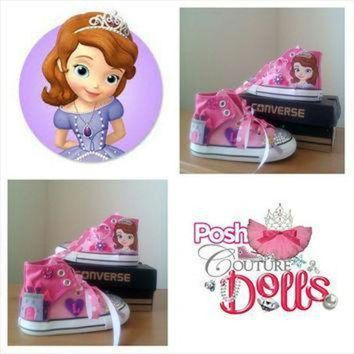 ONETOW princess sophia the first inspired theme custom bling converse