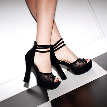 Ankle Straps Platform Sandals Women Pumps Lace High Heels Shoes Woman