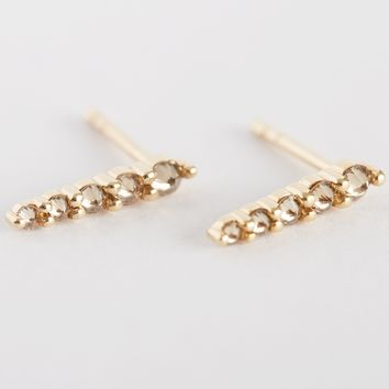 Champagne Diamond Pavé Pointe Studs by Anna Sheffield for Of a Kind