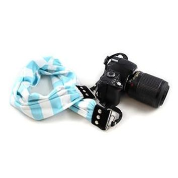 Aqua Stripe Scarf Camera Strap - Capturing Couture - CASCARF-STAQ
