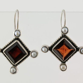 Sterling Silver Garnet Gemstone Earrings Seed Pearls Stamped 925 Vintage Estate Jewelry