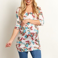 Cream-Floral-3/4-Sleeve-Maternity-Top