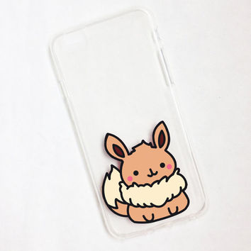 Hand painted Eevee phone cases, iPhone 6 case clear, iPhone 6 case, iPhone 6s case, Pokemon Phone Case, Samsung Galaxy S7 Edge Case