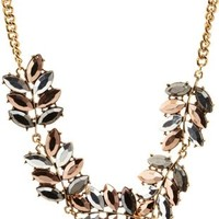Metallic Faceted Metallic Leaf Necklace by Charlotte Russe