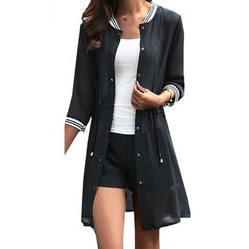 New Branded Fashion Chiffon Cardigans Female Casual Blouse Baseball Jacket