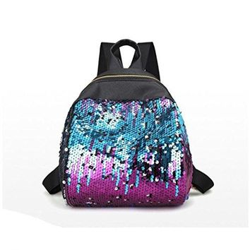 New Women Girl Backpack Travel Rucksack Shoulder Shiny Sequins School Bags by VESNIBA