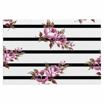 "NL Designs ""Purple Floral Stripes"" Black White Decorative Door Mat"