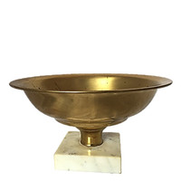 Brass Pedestal Compote Bowl with Marble Base | Lovely Aged Patina |  Seasonal Accent |  Fruit Bowl or Center Piece | Vintage Home Decor