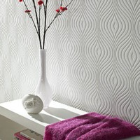 Graham & Brown Paintable Curvy Wallpaper in White - 17583